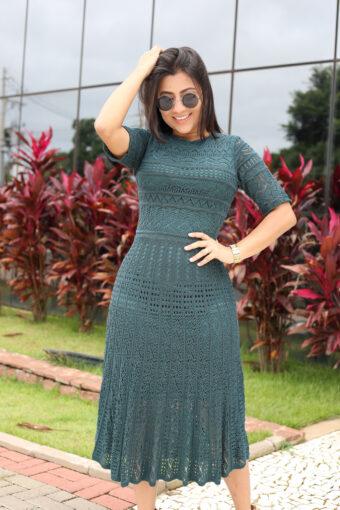 Vestido Tricot Midi Verde em Áquila Tauheny Store | Moda Evangélica