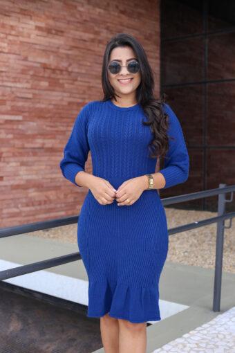 Vestido Tricot Peplum Azul em Áquila Tauheny Store | Moda Evangélica