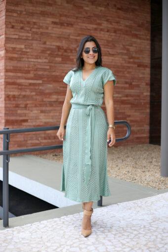 Vestido Midi Tricot Verde em Áquila Tauheny Store | Moda Evangélica