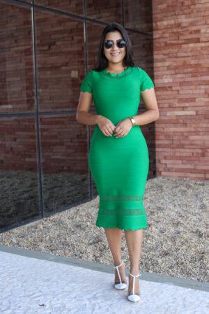 Vestido Tubinho Bandagem Verde