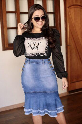 Blusa Preta Mangas Bufantes em Áquila Tauheny Store   Moda Evangélica