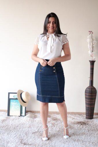 Saia Jeans Básica em Moda Evangélica