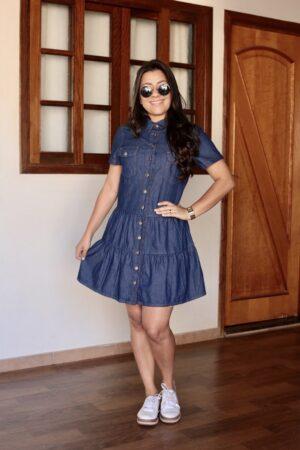 Vestido Jeans com Babados Azul