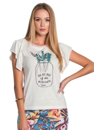 Blusa Off White com Estampa