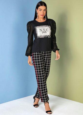 Blusa Preta com Mangas Bufantes em Áquila Tauheny Store | Moda Evangélica
