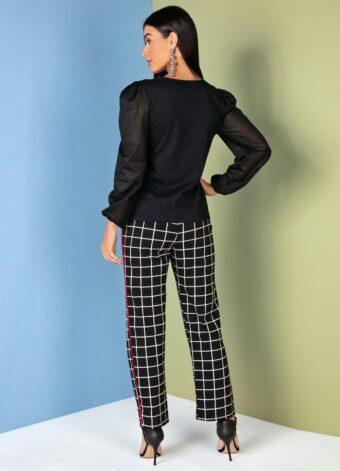 Blusa Preta com Mangas Bufantes em Áquila Tauheny Store   Moda Evangélica