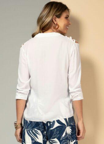 Camisa com Ombros Vazados Branca em Áquila Tauheny Store | Moda Evangélica