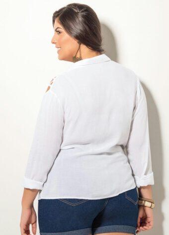 Camisa com Ombros Vazados Branca em Áquila Tauheny Store   Moda Evangélica