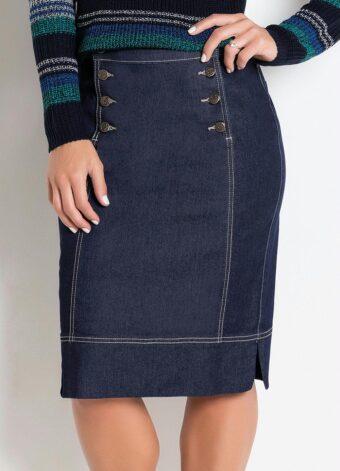 Saia Azul Escuro com Botões Frontais em Áquila Tauheny Store | Moda Evangélica
