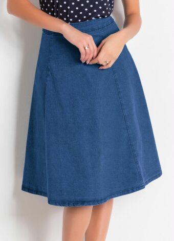 Saia Jeans Claro Evasê em Áquila Tauheny Store | Moda Evangélica