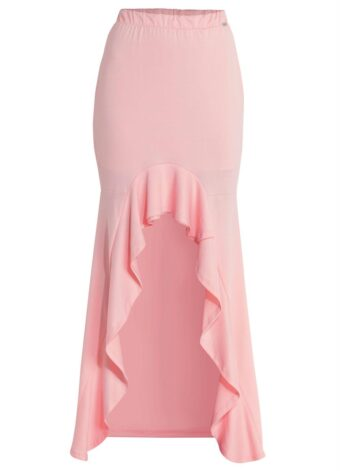 Saia Mullet com Babado Frontal Rosa em Áquila Tauheny Store | Moda Evangélica