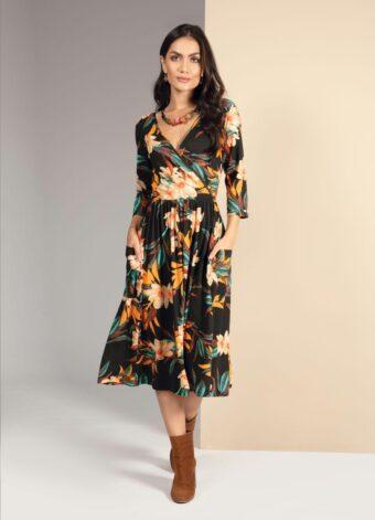 Vestido Dark Floral com Mangas 3/4 em Áquila Tauheny Store | Moda Evangélica