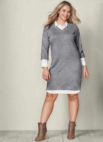 Vestido de Tricot Cinza em Áquila Tauheny Store | Moda Evangélica