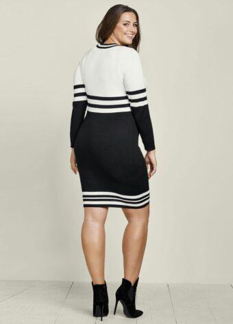 Vestido de Tricot Decote V Listrado Preto em Áquila Tauheny Store | Moda Evangélica