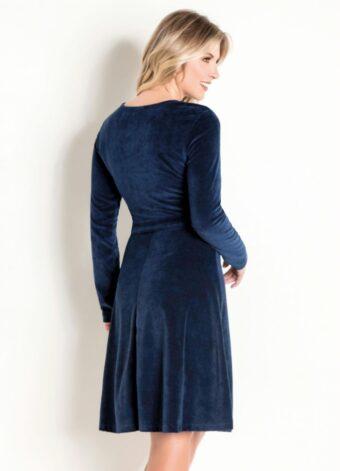 Vestido em Plush Marinho em Áquila Tauheny Store | Moda Evangélica