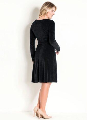 Vestido em Plush Preto em Áquila Tauheny Store | Moda Evangélica