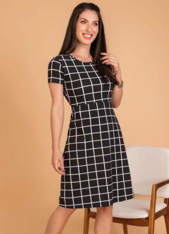 Vestido Evasê Xadrez Grid em Áquila Tauheny Store | Moda Evangélica