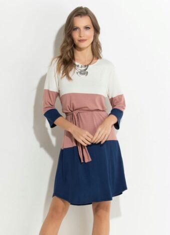 Vestido Gelo Rosê e Azul Mangas 7/8 em Áquila Tauheny Store | Moda Evangélica