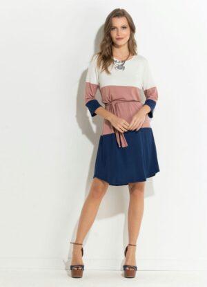 Vestido Gelo Rosê e Azul Mangas 7/8