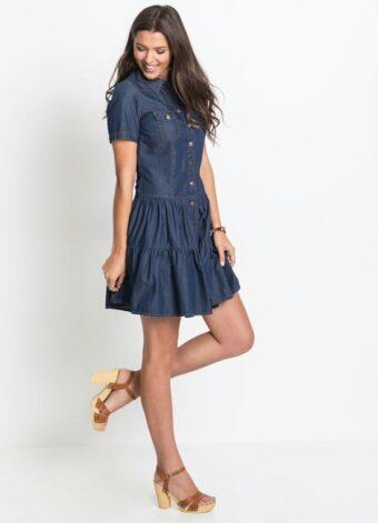 Vestido Jeans com Babados Azul em Áquila Tauheny Store | Moda Evangélica