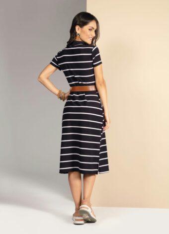 Vestido Listrado Preto em Áquila Tauheny Store | Moda Evangélica