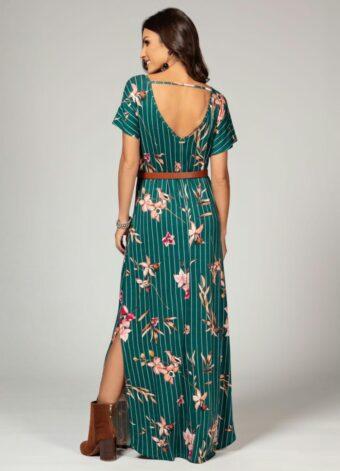 Vestido Longo Floral Verde em Áquila Tauheny Store | Moda Evangélica