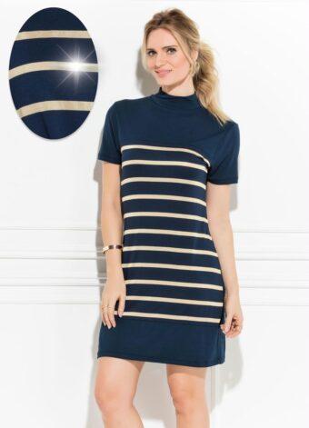 Vestido Marinho Listrado em Áquila Tauheny Store | Moda Evangélica