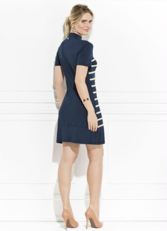 Vestido Marinho Listrado em Áquila Tauheny Store   Moda Evangélica