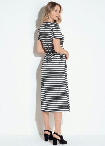 Vestido Midi Listrado em Áquila Tauheny Store   Moda Evangélica