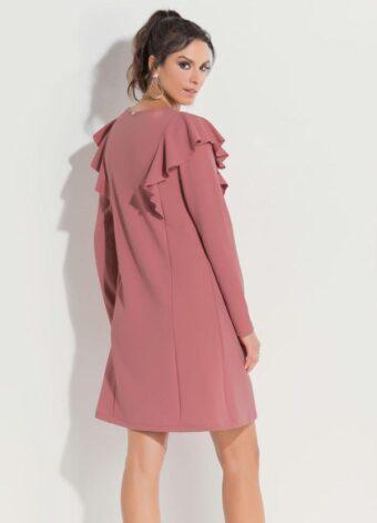 Vestido Rosê com Babados em Áquila Tauheny Store | Moda Evangélica