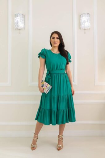 Vestido Midi Pérola Verde em Áquila Tauheny Store | Moda Evangélica