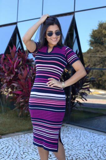 Vestido Tricot Listrado Gola Polo em Áquila Tauheny Store | Moda Evangélica