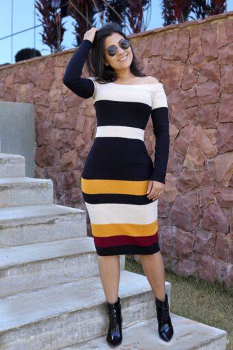 Vestido de Tricot Ombro a Ombro em Áquila Tauheny Store   Moda Evangélica