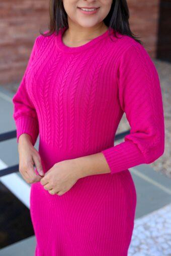Vestido Tricot Peplum na cor Rosa em Áquila Tauheny Store | Moda Evangélica