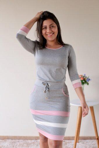 Conjunto de Malha Cinza com Rosa em Áquila Tauheny Store | Moda Evangélica