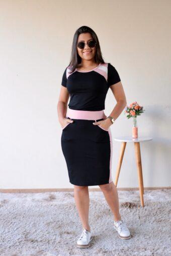 Conjunto Preto com Rosa em Áquila Tauheny Store | Moda Evangélica