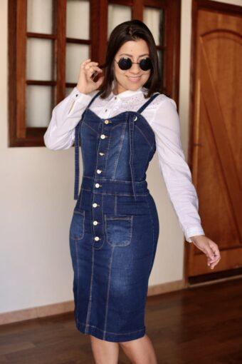 Jardineira Jeans em Áquila Tauheny Store | Moda Evangélica