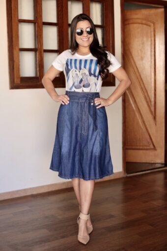 Saia Jeans Evasê em Áquila Tauheny Store | Moda Evangélica
