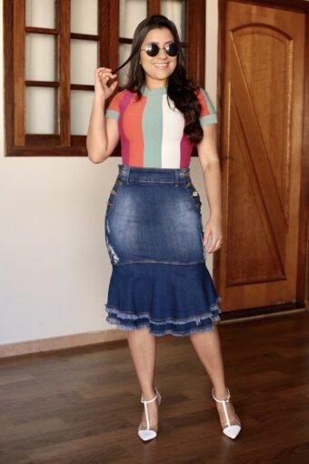 Saia Jeans Peplum em Áquila Tauheny Store | Moda Evangélica