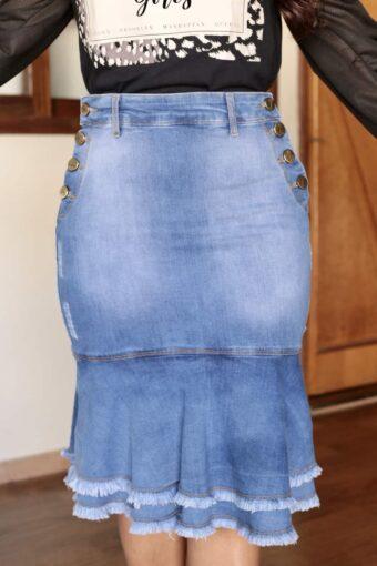Saia Jeans Peplum Clara em Áquila Tauheny Store | Moda Evangélica