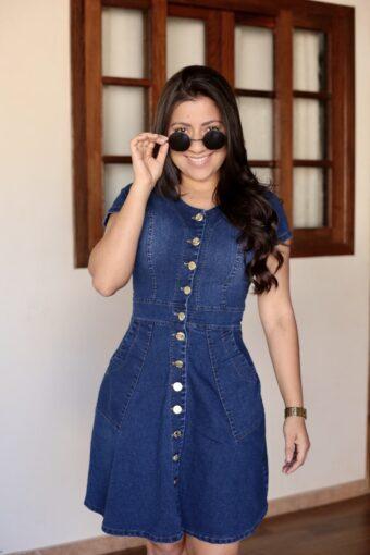 Vestido Jeans Godê Botão em Áquila Tauheny Store | Moda Evangélica