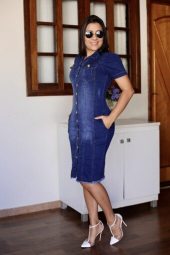 Vestido Jeans Tubinho em Áquila Tauheny Store   Moda Evangélica
