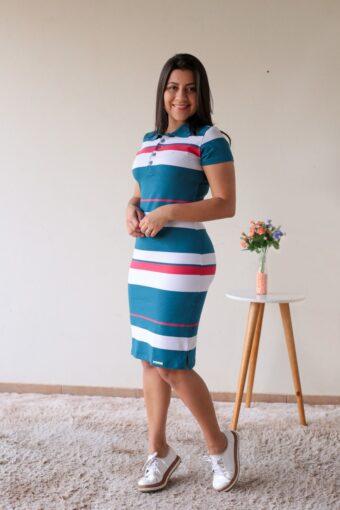 Vestido Polo Listrado Azul com Rosa em Áquila Tauheny Store | Moda Evangélica