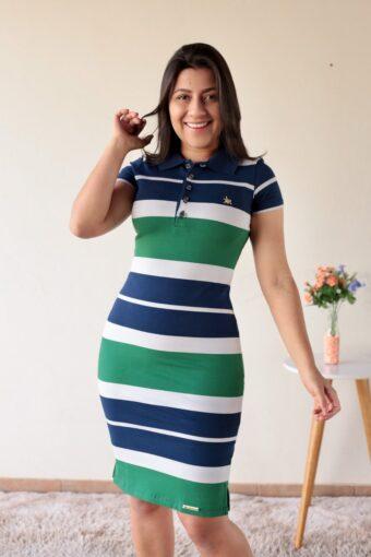 Vestido Polo Listrado Azul com Verde em Áquila Tauheny Store | Moda Evangélica