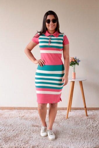 Vestido Polo Listrado Verde com Rosa em Áquila Tauheny Store | Moda Evangélica