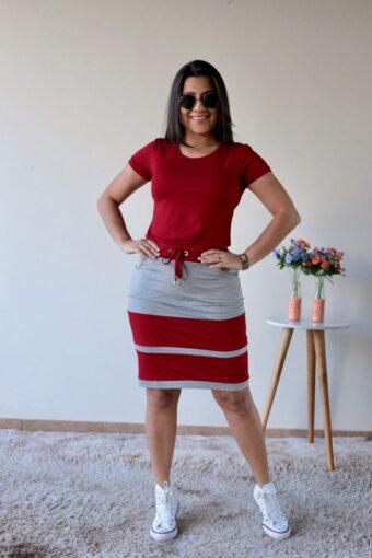 Conjunto de Malha Vermelho Mescla em Áquila Tauheny Store | Moda Evangélica