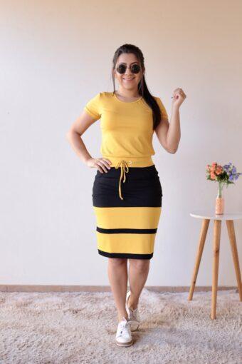 Conjunto de Malha Amarelo em Áquila Tauheny Store   Moda Evangélica