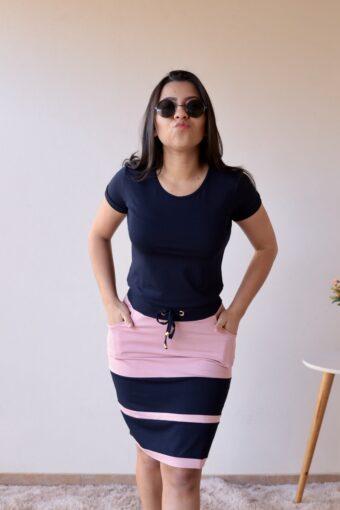 Conjunto de Malha Azul Marinho com Rosa em Áquila Tauheny Store | Moda Evangélica