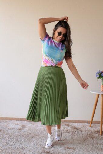 Saia Midi Plissada em Áquila Tauheny Store | Moda Evangélica
