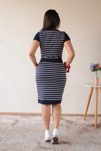 Vestido Malha Listrado Azul em Áquila Tauheny Store | Moda Evangélica